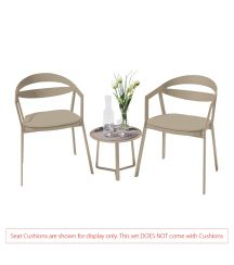 La Vida Aluminium 2 Seater Tea for Two Set in Light Taupe with Apollo Table (No Cushions)