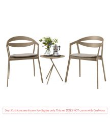 La Vida Aluminium 2 Seater Tea for Two Set in Light Taupe with Explorer Table (No Cushions)