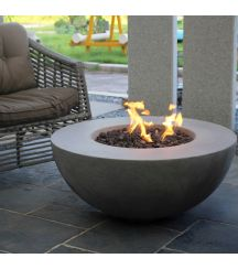 Roca GFR Concrete Round Fire Table in Light Grey