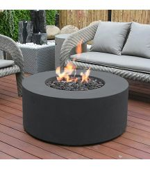 Venice GFR Concrete Round Fire Table in Black