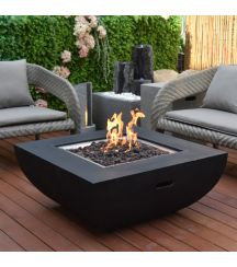 Aurora GFR Concrete Square Fire Table in Black