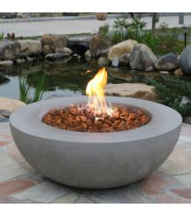 Lunar Bowl HPC Concrete Round Fire Table in Light Grey