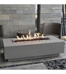 Granville HPC Concrete Rectangular Fire Table in Light Grey