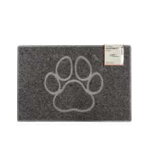 Paw Medium Embossed Doormat in Grey