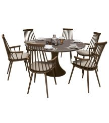 Royal Aluminium 6 Seater Dining Set in Coffee with Khaki Cushions & Matte Coffee Glass