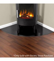 Corner Glass Hearth in Gloss Black