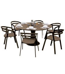 La Seine Aluminium & Textilene 6 Seater Dining Set in Coffee with Coffee Sling & Matte Coffee Glass