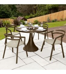 La Seine Aluminium & Textilene 4 Seater Dining Set in Coffee with Khaki Sling & Matte Coffee Glass