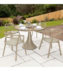 La Seine Aluminium & Textilene 4 Seater Dining Set in Light Taupe with Khaki Sling & Matte Cappuccino Glass