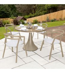 La Seine Aluminium & Textilene 4 Seater Dining Set in Light Taupe with White Sling & Matte Cappuccino Glass