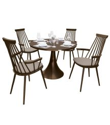Royal Aluminium 4 Seater Dining Set in Coffee with Khaki Cushions & Matte Coffee Glass