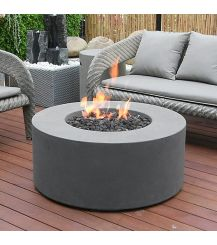 Tramore GFR Concrete Round Fire Table in Light Grey
