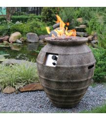 Pompeii GFR Concrete Round Fire Pit in Atlantic Brown