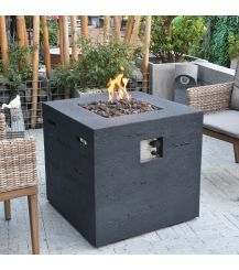 Ellington GFR Concrete Square Fire Table in Black Lava