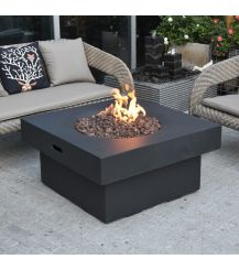 Branford GFR Concrete Square Fire Table in Black