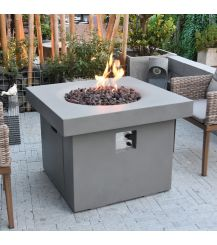 Burlington GFR Concrete Square Fire Table in Light Grey