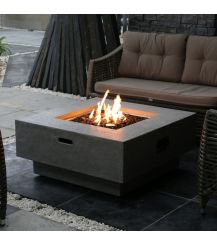 Manhattan HPC Concrete Square Fire Table in Light Grey