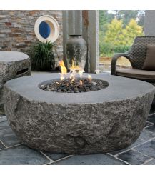 Boulder HPC Concrete Round Fire Table in Grey Rock