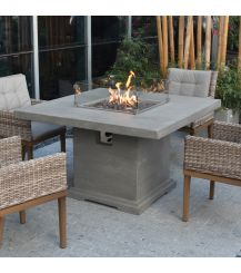 Birmingham HPC Concrete Square 4 Seater Fire Pit Dining Table in Light Grey