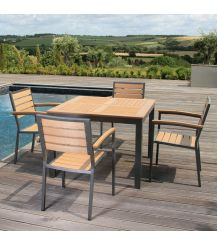 Syn-Teak 4 Seater Dining Set with Large Square Table in Teak Asian