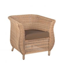 Jamaica Rattan Arm Chair in 4 Seasons with Brown Cushion