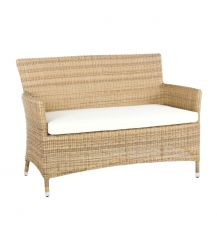 Hawaii Rattan 2 Seater Arm Sofa in 4 Seasons with Creamy White Cushions