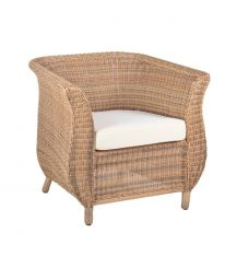 Jamaica Rattan Arm Chair in 4 Seasons with Creamy White Cushions