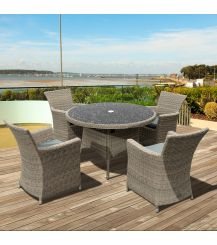 Eden Rattan 4 Seater Dining Set in Chic Walnut with Granite Effect Glass