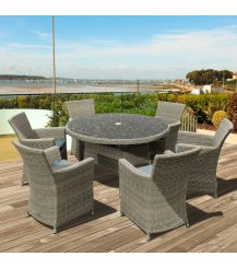 Eden Rattan 6 Seater Dining Set in Chic Walnut with Granite Effect Glass