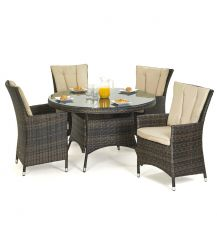 LA 4 Seat Round Dining Set in Brown
