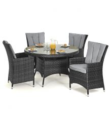 LA 4 Seat Round Dining Set in Grey