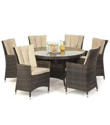 LA 6 Seat Round Dining Set in Brown