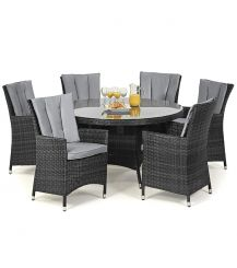 LA 6 Seat Round Dining Set in Grey