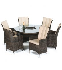 LA 6 Seat Round Dining Set with Ice Bucket and Lazy Susan in Brown