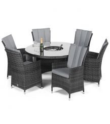 LA 6 Seat Round Dining Set with Ice Bucket and Lazy Susan in Grey