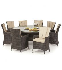 LA 8 Seat Round Dining Set in Brown