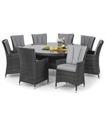 LA 8 Seat Round Dining Set in Grey