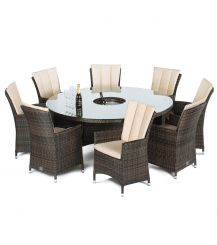 LA 8 Seat Round Dining Set with Ice Bucket and Lazy Susan in Brown