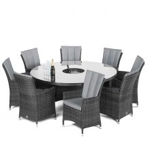 LA 8 Seat Round Dining Set with Ice Bucket and Lazy Susan in Grey
