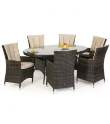 LA 6 Seat Oval Dining Set in Brown