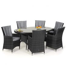 LA 6 Seat Oval Dining Set in Grey