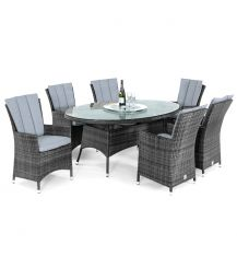 LA 6 Seat Oval Dining Set with Ice Bucket and Lazy Susan in Grey