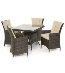 LA 4 Seat Square Dining Set in Brown