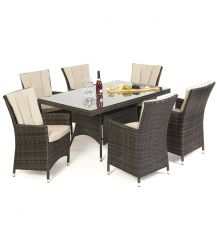 LA 6 Seat Rectangular Dining Set in Brown