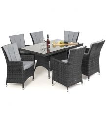 LA 6 Seat Rectangular Dining Set in Grey
