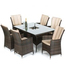 LA 6 Seat Rectangular Dining Set with Ice Bucket in Brown