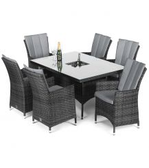 LA 6 Seat Rectangular Dining Set with Ice Bucket in Grey