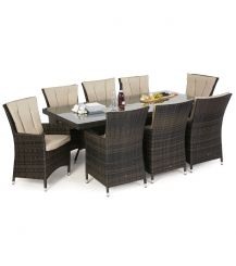 LA 8 Seat Rectangular Dining Set in Brown