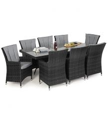 LA 8 Seat Rectangular Dining Set in Grey