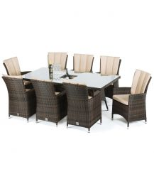LA 8 Seat Rectangular Dining Set with Ice Bucket in Brown